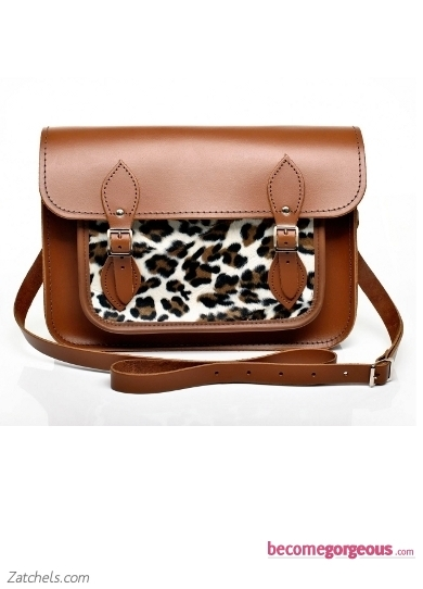 Chestnut Leather with Cheetah Faux Fur Satchel
