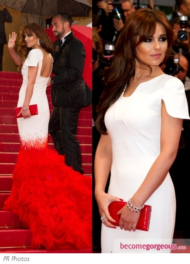 Cheryl Cole in Stephane Rolland White/Red Gown