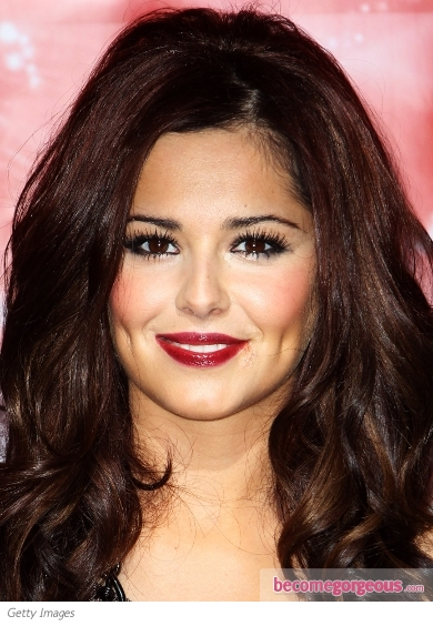 Cheryl Cole Wine Red Lip Makeup