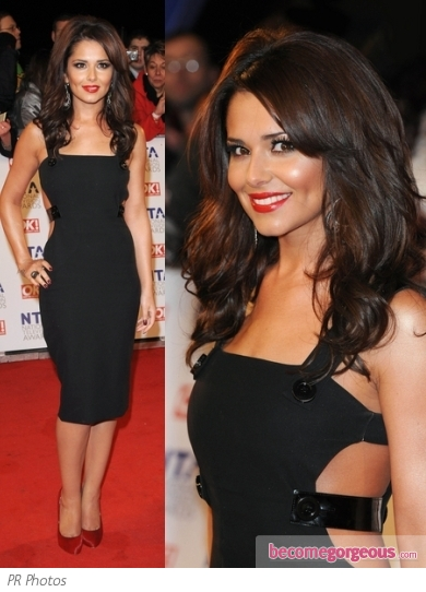 Cheryl Cole in Black Versace Dress