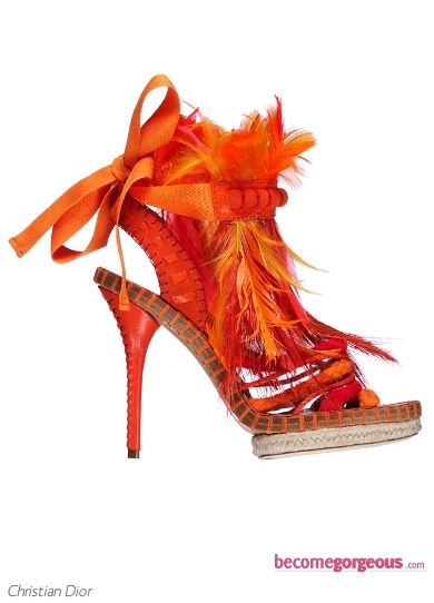 Christian Dior Orange Feather Sandals