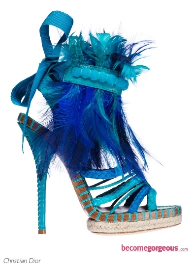 Christian Dior Blue Feather Sandals