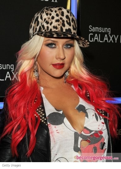 Christina Aguilera Dip Dyed Red Hair Color