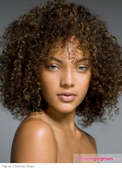 Medium Super-Curly Hair Style