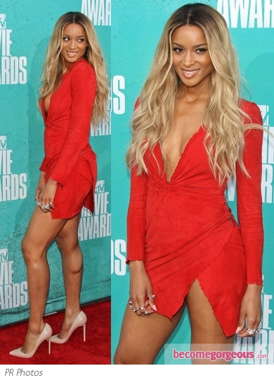 Ciara in Balmain Red Leather Dress