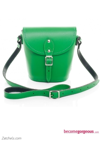 Green Leather Barrel Bag