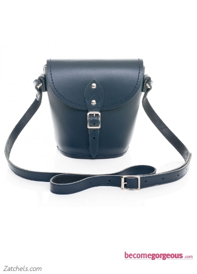 Navy Leather Barrel Bag