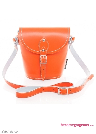 Orange Leather Barrel Bag