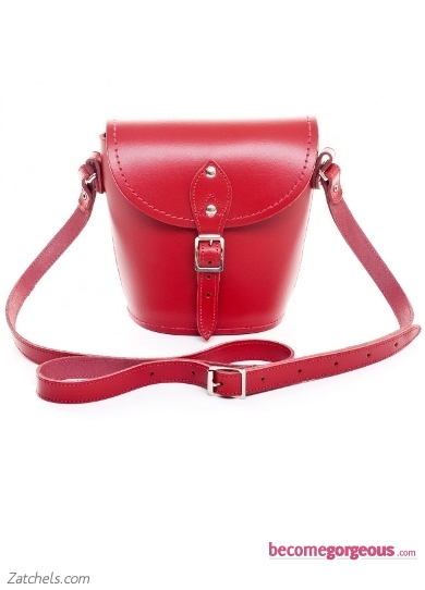 Red Leather Barrel Bag