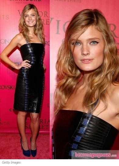 Constance Jablonski in Versace Leather Dress