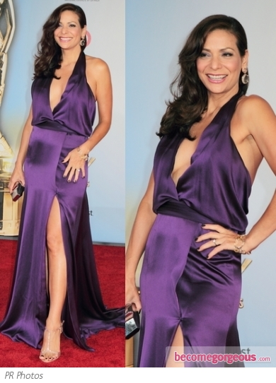 Constance Marie in Purple Halter Dress