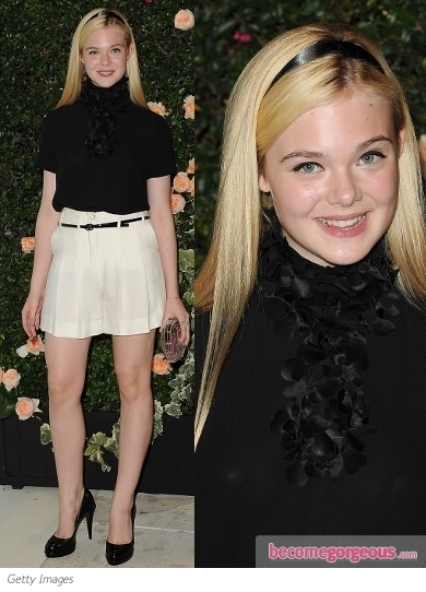 Elle Fanning in Chanel Shorts and Blouse
