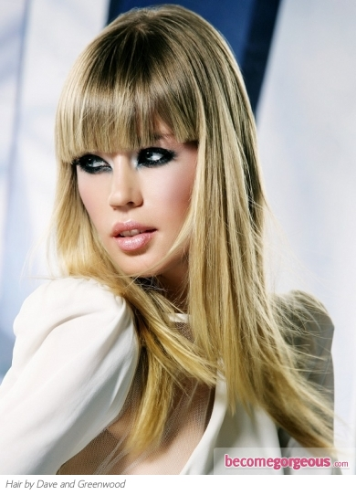 Chic Long Haircut with Blunt Bangs