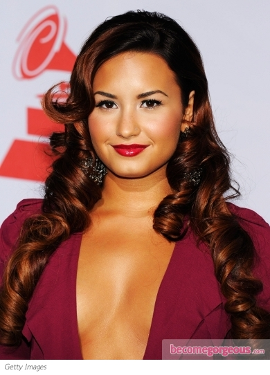 Demi Lovato Glam Curly Hairstyle