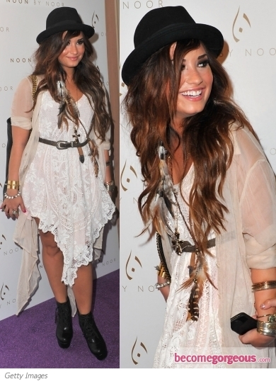 Demi Lovato in Pins and Needles Chantilly Dress