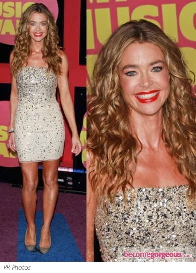 Denise Richards in Alice + Olivia Sequined Mini Dress