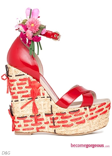 D&G Red Wedge Sandals