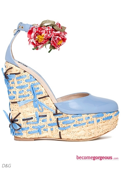 D&G Light Blue Wedge Sandals
