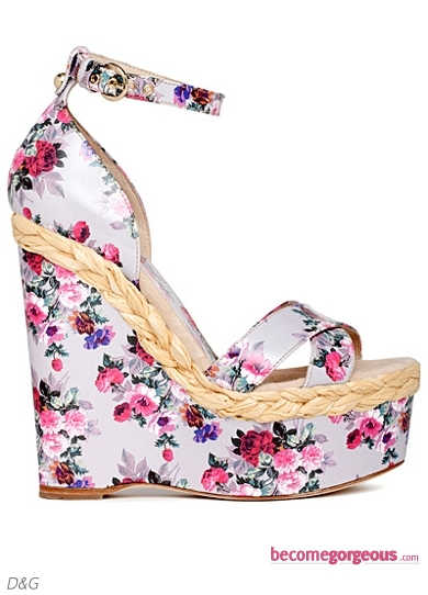 D&G Floral Printed Wedge Sandals