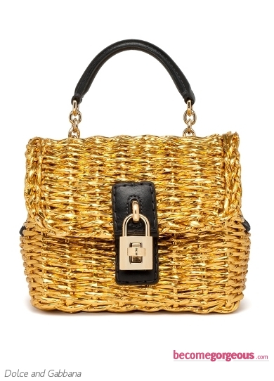 Dolce and Gabbana Small Gold Straw Bag