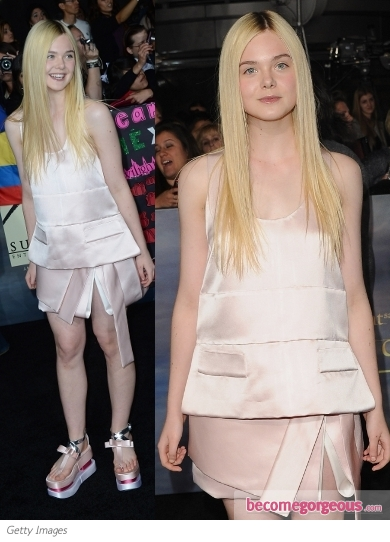 Elle Fanning in Prada Pink Outfit