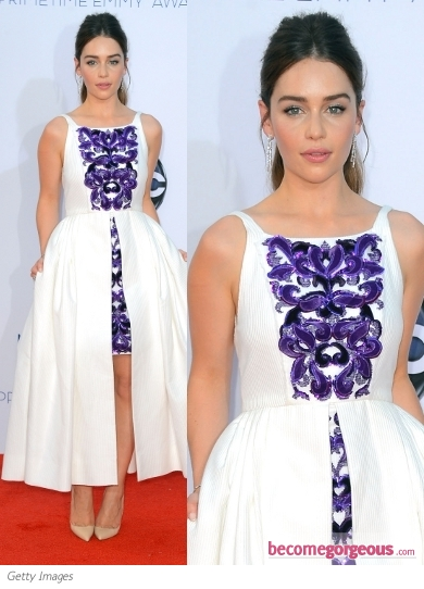 Emilia Clarke in Chanel Sequin Embroidered Dress