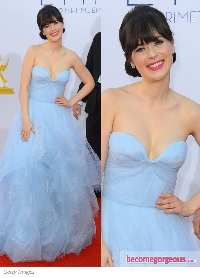 Zooey Deschanel in Reem Acra Blue Gown