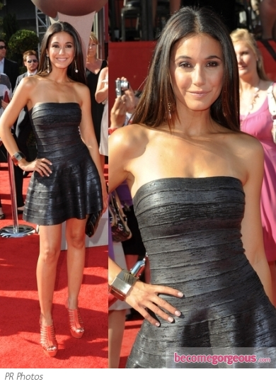 Emmanuelle Chriqui in Herve Leger A-Line Dress