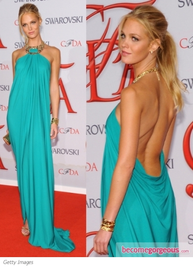 Erin Heatherton in Michael Kors Aqua Halter Maxi Dress