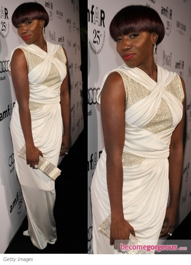 Estelle in White Draped Gown