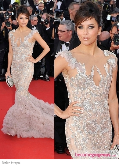 Eva Longoria in Marchesa Embroidered Gown