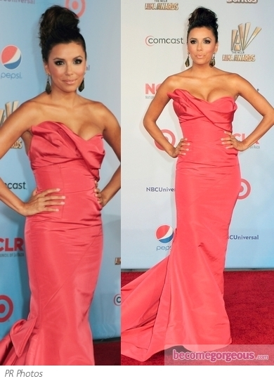 At the 2011 ALMA Awards Melissa Crash Barrera strutted her stuff down the red carpet in an embellished gown with embellished and feather details.