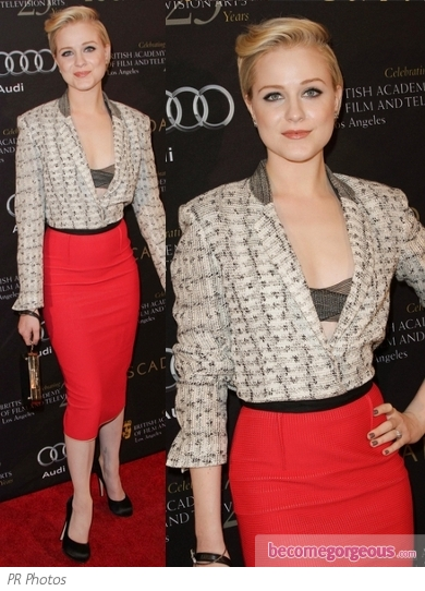 Evan Rachel Wood in Roland Mouret Blazer and Skirt