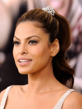 Eva Mendes High Pony Hairstyle