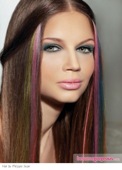 hair color styles highlights. Rainbow hair highlights are