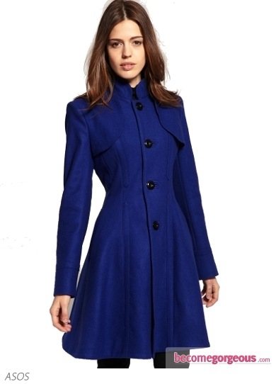 Fit and Flare Coat With Collar