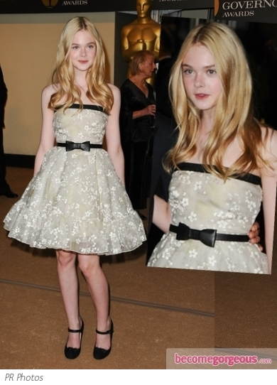 Elle Fanning in Valentino Floral Cocktail Dress