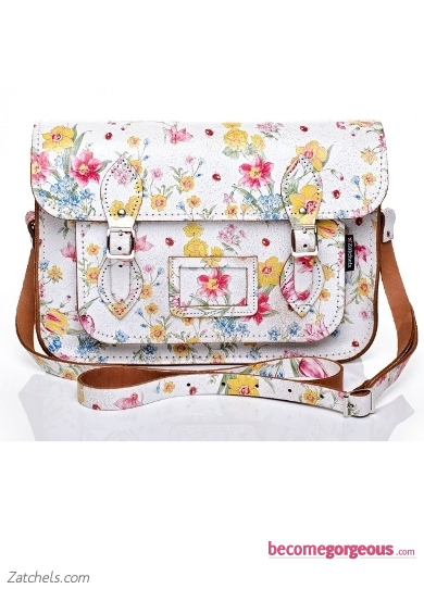 White Satchel with Large Floral Pattern