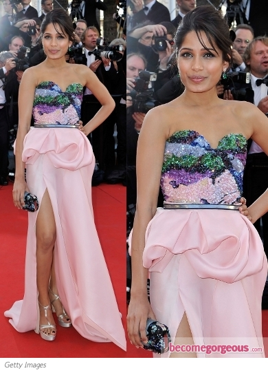 Freida Pinto in Michael Angel Gown