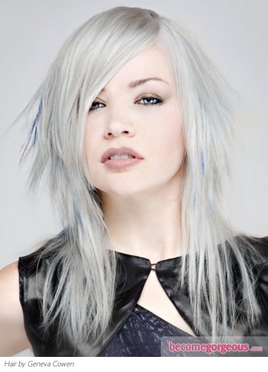 Ash Blonde Hair with Blue Highlights