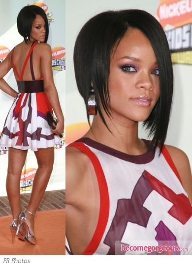Rihanna in Gucci Graphic Print Dress