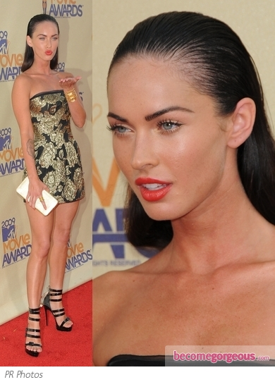 Megan Fox in Dolce & Gabbana Gold Mini Dress