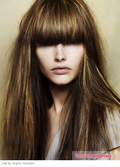 Show off your lengthy locks with a glossy chestnut brown hair color.  The lush brunette paired with long layers looks great no matter how you style it.