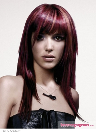 brown hair color ideas with highlights. This magenta hair color idea