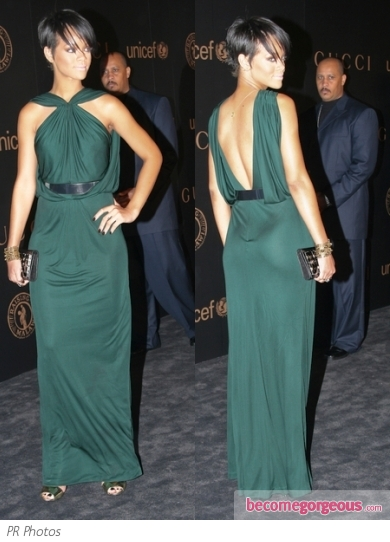 Rihanna in Green Gucci Gown