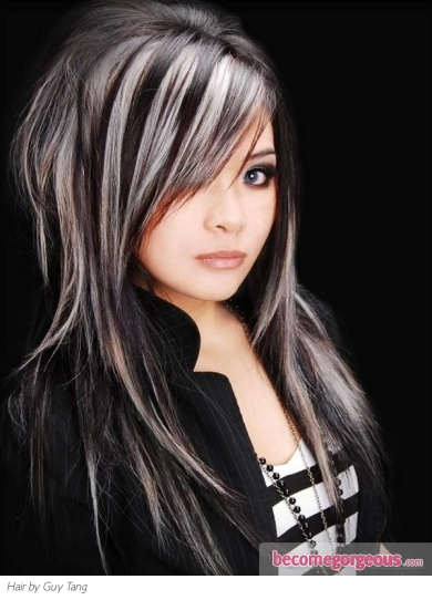 ... : Hair Highlights Ideas - Black Hair and Platinum Blonde Highlights