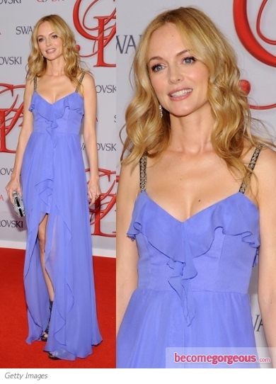Heather Graham in Nicole Miller Blue Dress