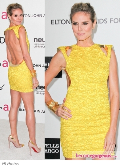 Heidi Klum in Atelier Verace Yellow Dress
