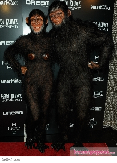Heidi Klum and Seal as Apes for Halloween