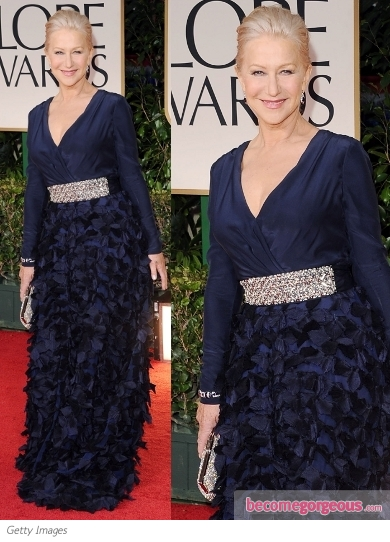 Helen Mirren in Badgley Mischka at 2012 Golden Globes